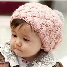 Hot Sell 1pc 2017 New Autumn Winter Girl Baby Hat Bonnet Style Kids Crochet Knitting Cap Lovely Infant's Headwear Caps DW650595(China)