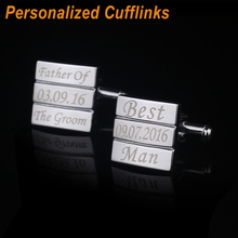 Customized Wedding Anniversary Cufflinks Laser Engraved Name Record Classic Personalized Cuff-links for Men QiQiWu CL-042