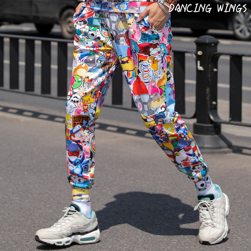 Cartoon Pattern Print Pants Casual Loose Sport Trousers Women Hip-hop Joggers Street Dance Trousers title=
