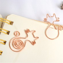 8 pieces/lot Gift rose gold creative cute cat paper clip bookmark 28*31 mm office stationery(China)