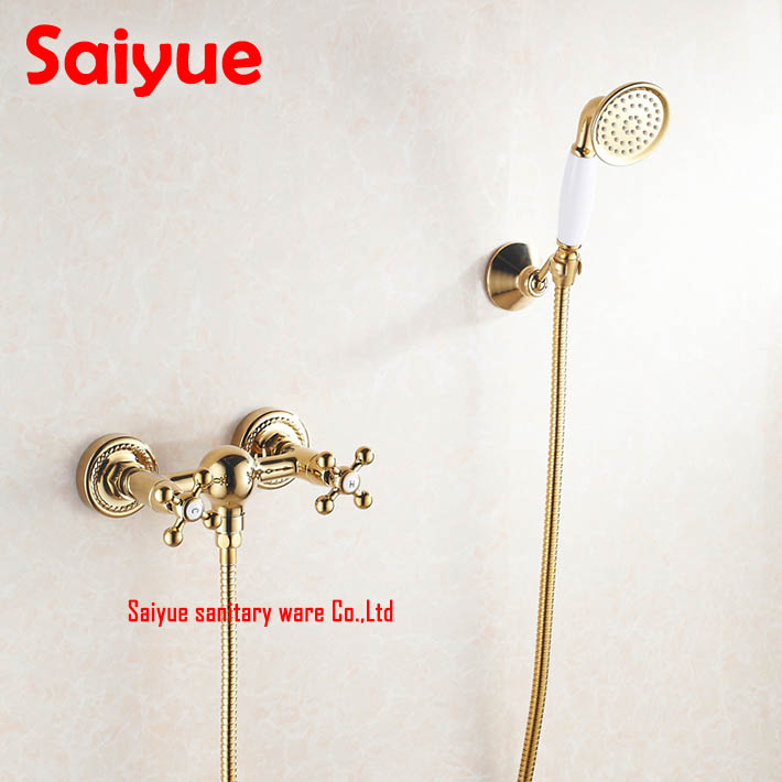 Gold plating  Bathroom Bath Faucet Wall Mounted Hand Held Shower Head Kit Shower mixer Sets<br><br>Aliexpress