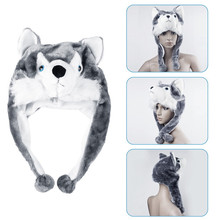Top Sale 1 pcs High quality handmade Animal style Soft Cartoon Wolf Cute Fluffy Plush kids Hat Cap Fashion Popular Hat