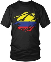 2017 Latest Fashion  Colombia Flag Rip Through Design, Colombian Flag Cotton t shirt slogans Customized shirts for mens