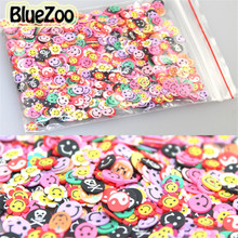 BlueZoo New 1000Pcs Mixed Design Skull/Flower/Smile 3D Cute Fimo Slice Nail Art Tips Stickers Nail Art Decoration(China)