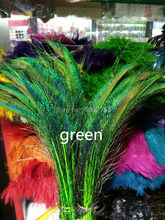 Wholesale beautiful green peacock feather sword 20 pcs symmetrical size 35-40 cm 14-16 inches celebration decoration(China)