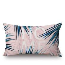 American Style Tropical Decoration Cushion Plants Artificial Palm Leaves Fabric Color Rectangular Pillows Headrest For Bedding(China)