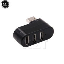 1pcs Mini USB 2.0 Hub 4 Ports Rotate Cable USB Splitter Hubs Adapter Cable High Speed Portable data transmission(China)