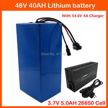 2000W 48V 40AH Electric bike Lithium battery 3.7V 5.0AH 26650 Cell 48V 40AH Li-ion Ebike battery 50A BMS + 54.6V 4A Fast Charger(China)