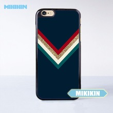 MINIKIN Colorful Chevron x Gold Glitter x Navy Blue Cell Phone Protective Case For iPhone 7 7 Plus 6 6S Plus SE 5 5S 5C 4 4S(China)