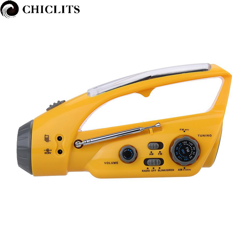 Portable Hand Crank Flashlight Led Lighting Emergency Solar Power LED Torches Multifunction Camping Flashlight with FM/ AM Radio<br>