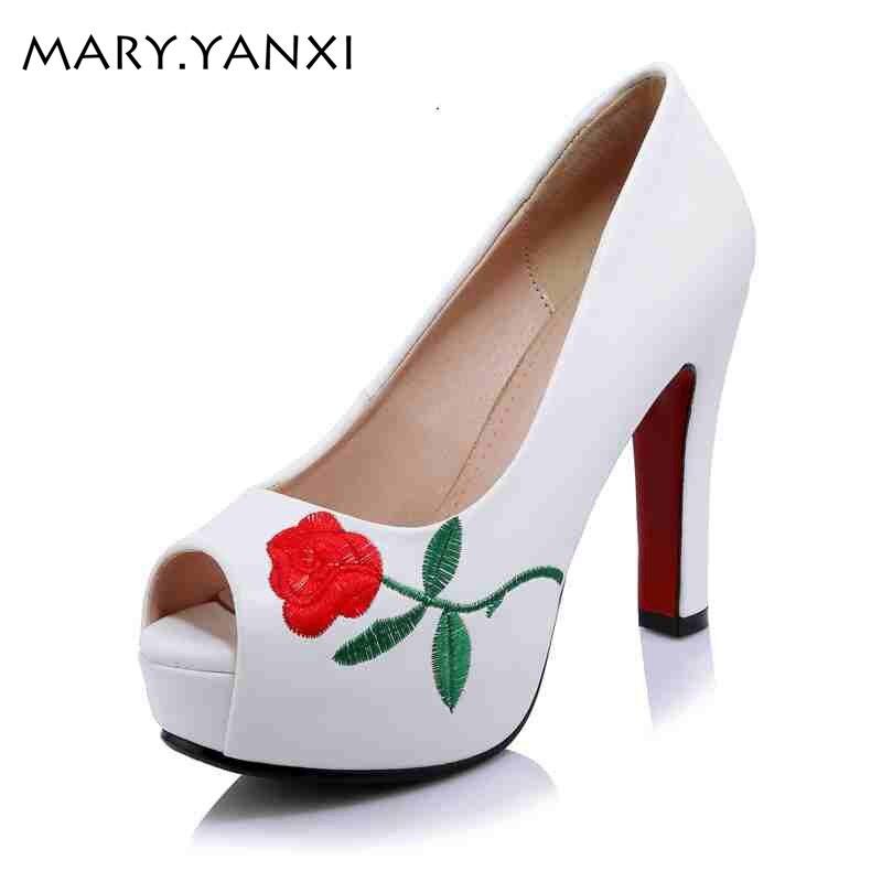 Embroidered shoes flower women shoes super high heel peep toe sandals women Spring/Autumn Mature Slingback pumps platform shoes<br>