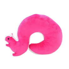 Cartoon U type squirrel Neck Pillow Plush Toy Dolls rose red