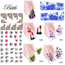 Bittb 2 Sheets Flower Nail Decals Water Transfer Nail Art Sticker French Tips Mixed DIY Watermark Nail Beauty Accessories Tools(China)