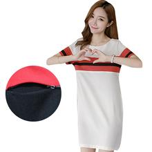 2017 Summer Stripes Mini Nursing Dress Maternity Clothes Prgnancy T-shirt Dress Breastfeeding Clothing for Pregnant Women