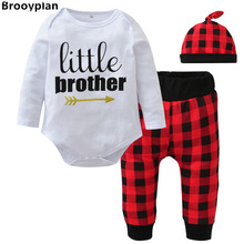 2017 Autumn New Baby Boys Girls Clothing Set Cotton Long Sleeve Letter Romper+Red lattice Pants+Hat Newborn Toddler Clothes
