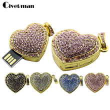 Diamante Jewelry Crystal USB Flash Drive Rhinestone Heart Flash Memory Stick Pendrive 4GB 8GB 16GB 32GB 64GB(China)