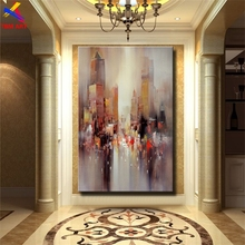 Times Square Pic Large Hand painted Modern Abstract Oil Painting on Canvas for Living Room Wall Art Home Decoration Gift SL025