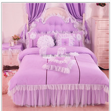 Purple/Pink/Blue Korean lace princess bedding set cotton 3/4pcs for girls twin full queen size ruffle bed skirt free shipping(China)
