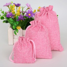 Pink 5pcs Cotton Linen Drawstring Wedding Jewelry Decorative Bags Christmas/Wedding Gift Bags Pouch Product Packaging Bags