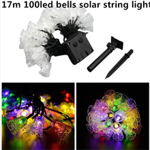 17m 100led Bells Solar String Lights Outdoor Fairy Light String for Christmas Wedding Party Decoration with Solar Panel(China)