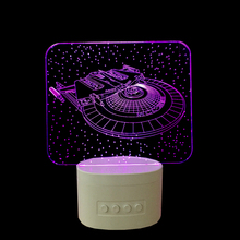 Star trek enterprise Rechargeable Home Decor Lampa LED Light 3D USB Bluetooth Speaker Lamp Music Table Nightlight Cute Light
