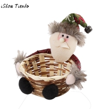 Christmas Candy Storage Basket Decoration Santa Claus Storage Basket Garden Party Decor Home Supplies 15X15CM kids holiday gift