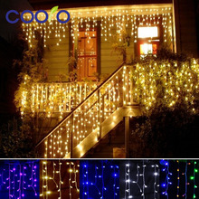 Christmas String outdoor decoration 3.5m Droop 0.3-0.5m curtain icicle string 110V/220V New year Garden Xmas Wedding Party(China)