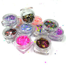 Lowest price 12box/Lot 1mm 2mm 3mm Mixed Glitter Nail Holographic Glitter Acrylic Glitter Mixes Holo Sequins Round Glitter