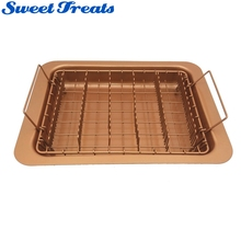Sweettreats Copper non-stick Bacon rack and Oven Healthier Bacon Drip Rack Tray with Pan, 2 pcs set, Easily cook up to 12 strips(China)