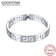 925 Sterling Silver Bracelets Bangles for Women Party Jewelry Top Quality Hollow Maze Pattern Cubic Zirconia Bangles GTB011