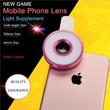 LED Fill in Light Wide angle Lens Fisheye lens Micro lenses Mobile Phone Camera Kit Universal Clip For iPhone Samsung Xiaomi LG