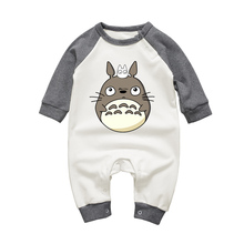 Long Sleeve Toddler Clothes Baby Girls Boys Jumpsuits Cartoon Totoro O-neck Cotton Newborn Rompers Long Sleeve Infant One-pieces