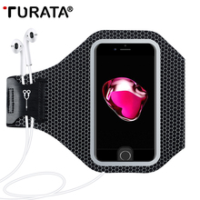 TURATA Sports Mobile Phone Holder Phone Bag for iPhone 6S 6 7 8 Plus, Waterproof Night Running Arm band Case for Samsung S7 S6(China)