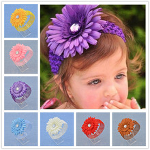 NEW Floral Headband big Sunflower Flower iamond Hairband Hair Weave Band kids Accessories Gifts Stock(China)