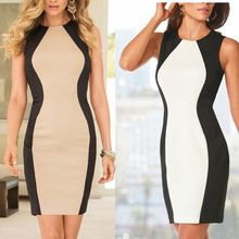 Buy 2 Colors Women Dress 2017 New Sleeveless Vest Dresses Black White Splice Sexy Dress Vintage Office Bodycon Pencil Dress for $15.50 in AliExpress store