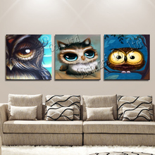 Hand Painted Owl Oil Painting Hang Paintings Modern Cartoon Picture For Christmas Home Decor Fascinating Animals Canvas Painting