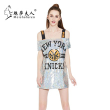 Donna Fashion Women Long Sequin T Shirt Harajuku Style Slim Sequined Bling Bling Shiny Letters Rock Hip Hop Tee Tops T218S(China)