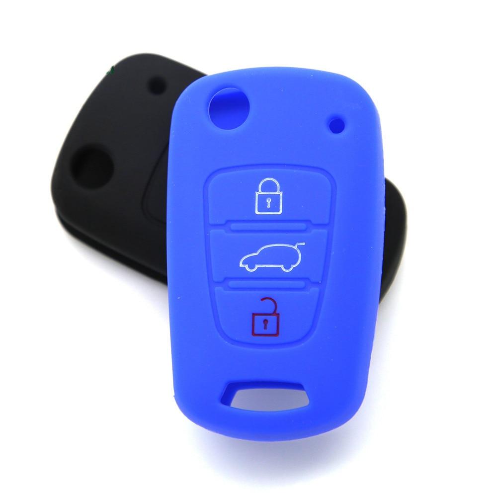 Black Silicone Key Case Cover Remote Key FOB 3 Button for KIA K2 K5 Pro Ceed