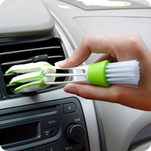 1Pc New Portable Double Ended Car Air Conditioner Vent Slit Cleaner Brush Instrumentation Dusting Blinds Keyboard Cleaning Brush