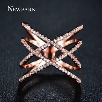 NEWBARK Vintage Double Croix X Forme Anneaux pour les Femmes Zircone Micro Pavée Or Rose Et Or Plaqué Bijoux Pour Noël cadeaux