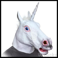 Hot!!! New Halloween Suppliers Accoutrements Magical Unicorn Mask Latex Animal Costume Prop Toys Party Halloween Free Shipping