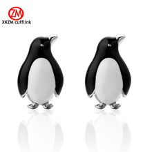 XKZM Jewelry Penguin Modeling Cufflinks for Mens High Quality Brand Enamel Animal Cufflink mosaic Crystal 2017 Newest Hot