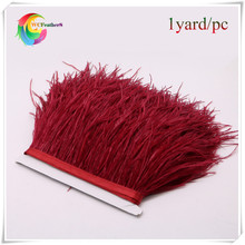 high quality 1yard long dyed burgundy natural ostrich feather trims fringe real ostrich feather trimming with ratin ribbon