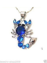 free shipping >> Jewelry blue crystal Scorpion Necklace Pendant(China)