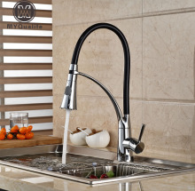 Deck Mount Brass Dual Sprayer Ktchen Sink Faucet Chrome Finish with Bracket Bar Mixer Tap Hot and Cold Water(China)