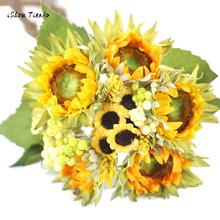 ISHOWTIENDA 5 Heads Beauty Fake Sunflower Artificial Silk Flower Bouquet Home Floral Decor