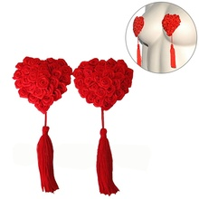1 Pair Womens Sexy Nipple Covers Heart Shape Rose Breast Petals Tassel Pasties Stickers Petals
