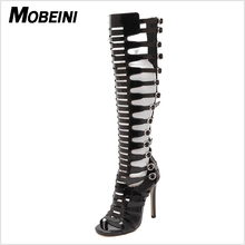 Gladiator Over Knee High Heel Boots Sexy Buckle Women Open Toe Stiletto Sandals Club wear Party Fetish Shoes Motorcycle Boots