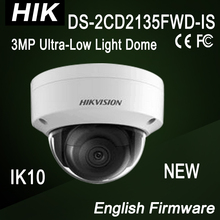 DS-2CD2135FWD-IS Hik NEW 3MP dome IP Camera Ultra-Low Light IK10 3-axis adjustment H.265,H.265+,H.264+,H.264 IR30m Support 128GB