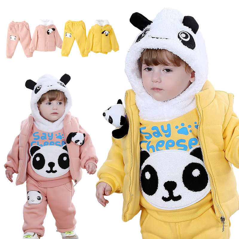 Anlencool 2017 Free shipping child winter cotton vest three-piece Teddy Bear newborn baby clothes baby boy clothing<br>